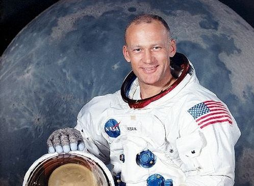 Buzz Aldrin in spacesuit